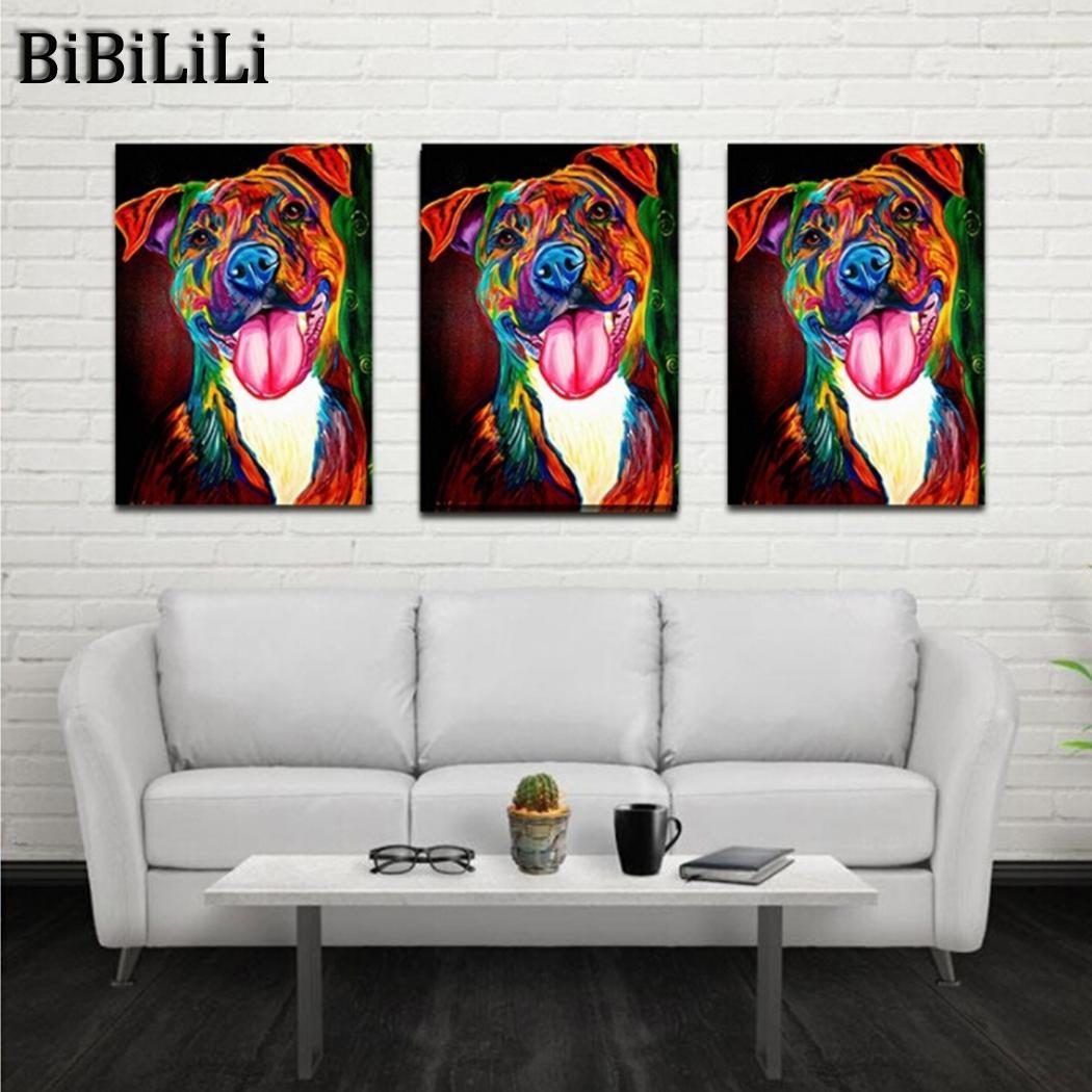Hot Hanging Painting for Room Wall Decoration Colorful Dog Design Canvas Printing Painting By Numbers Wall Art Pictures