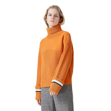 Toyouth Orange Color Turtleneck Sweater Women All-Match Knitted Pullovers And Sweaters Vintage Contrast Color Pull Femme Hiver