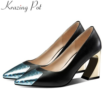 Mature woman brand European style pumps mixed colors high heels oxford pointed toe sequined high quality elegant dress shoes L08