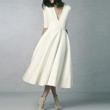 Пикантные белое платье Для Женщин Половина рукавом v-образным вырезом Вечеринка халат 2018 летнее платье плюс Размеры 3XL элегантный красные, черные Vestido