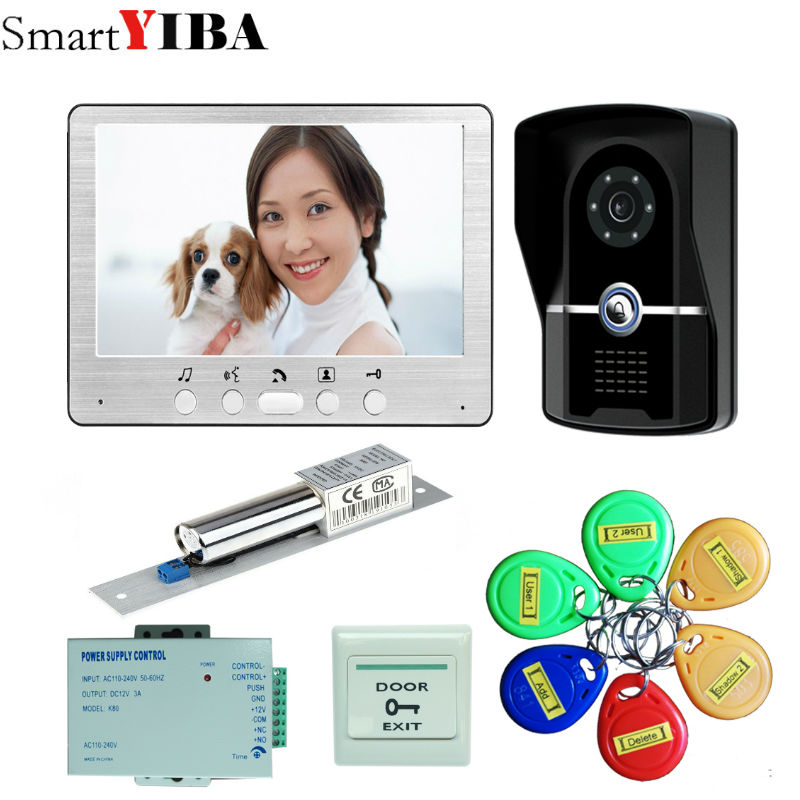 SmartYIBA 7 inch TFT Color Video door phone Intercom Doorbell System Kit IR Camera Doorp ...