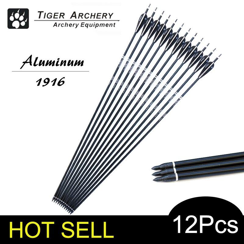 12 шт./лот 30 Алюминий стрелка позвоночника 500 Черный и белый Цвет для изогнутый/составные Луки Охота ...