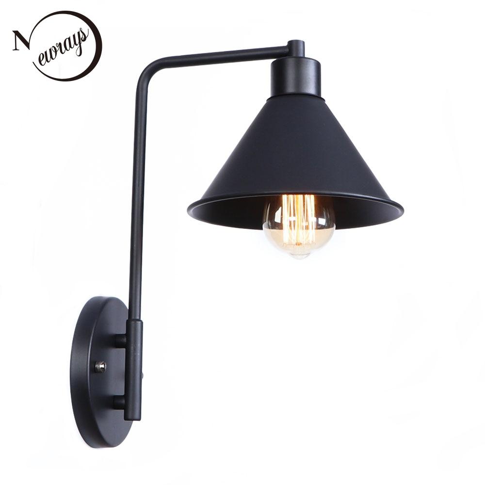 Vintage fer peint unique lampe de mur noir E27 220 v LED murale lustre lampe pour salon chambre restaurant cuisine hôtel café