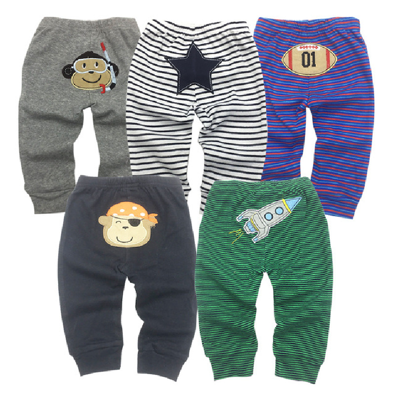 Factory Wholesale Baby Boy pants 5pieces a lot Cotton Cartoon Animal Infant Girl Long Trousers Overalls Girl Boy pant Clothes