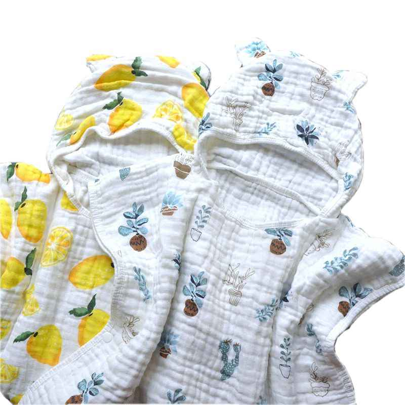 Muslin Cotton 6 Layers Baby Bath Towel Child Beach Towel Cape Cloak Ins Patterns For Girls Boys