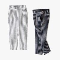 Women 2017 Summer Classic Striped Linen Pants Navy White