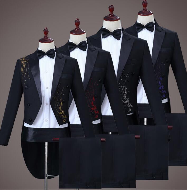 Escudo Homme rojo Boda Matrimonio Pantalones Cantante azul Terno Etapa Traje  amarillo Negro Hombres plata Para Blazer Últimas Diseños Pant ... a177d863083d