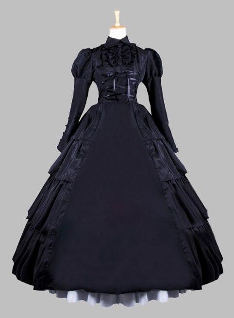 Gothic Black Brocade Euro Court Princess Dress Victorian Dress Cosplay Dress Cosplay Costume