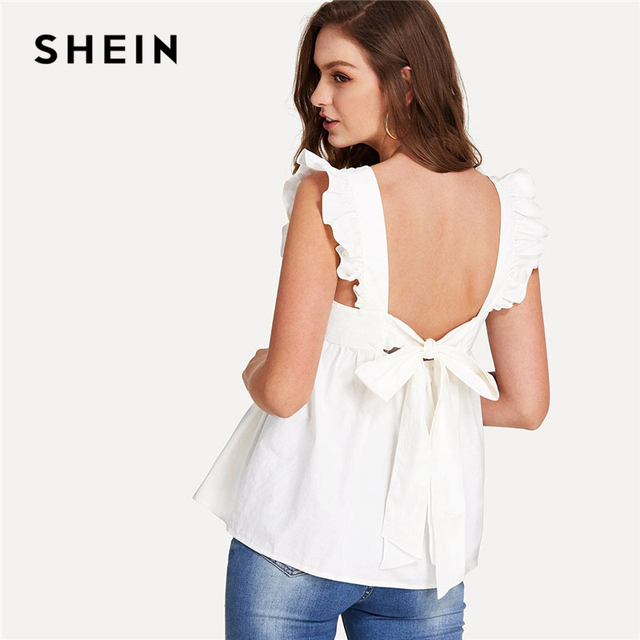 66bfc82e7416d SHEIN Ruffle Trim Bow Tie Backless Smock Top Women White Round Neck  Sleeveless Plain Blouse 2018 Female Summer Preppy Blouse