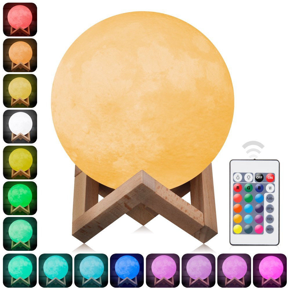 3D Print Moon Lamp 16 Color Remote Control Change Touch Switch Bedroom Bookcase Night Light Home Decor Creative Gift