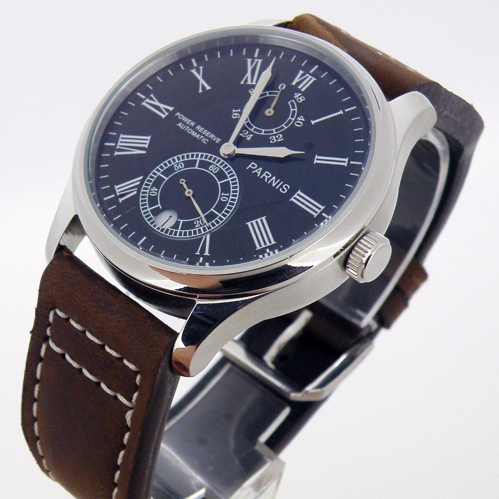 43MM PARNIS Men's Belt Watch Waterproof Calendar Mechanical Watch Black Simple Automatic Mechanical Watch