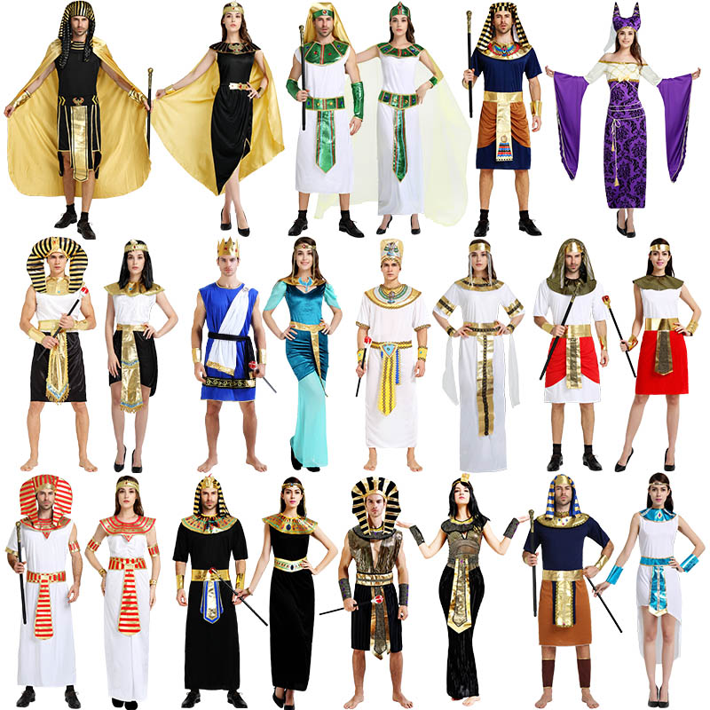 adult party cosplay red green Arabian Ancient Egypt Egyptian Pharaoh King Empress Cleopatra Queen Priest Costume Clothing