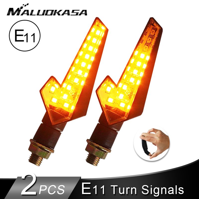 2PCS Motorcycle Turn Signals E11 Flowing Water Blinker 12LED Flashing Light Built Relay Bendable Tail Stop Signal for Honda