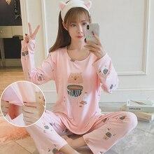 3c1c0df4f65f Pijamas de mujer embarazada Plus tamaño ropa de dormir de lactancia traje  de manga larga de Nusing camisón