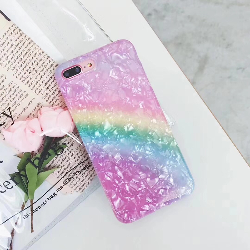 YKUPUP Girly angelic conch phone case for iphone 6s case for iphone 7 6 6s 8 plus x coque fundas soft silicon cute rainbow cover