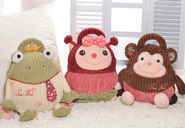 Candice guo plush toy stuffed doll cartoon metoo cat caterpillar monkey pig dog hedgehog backpack baby bag children present gift