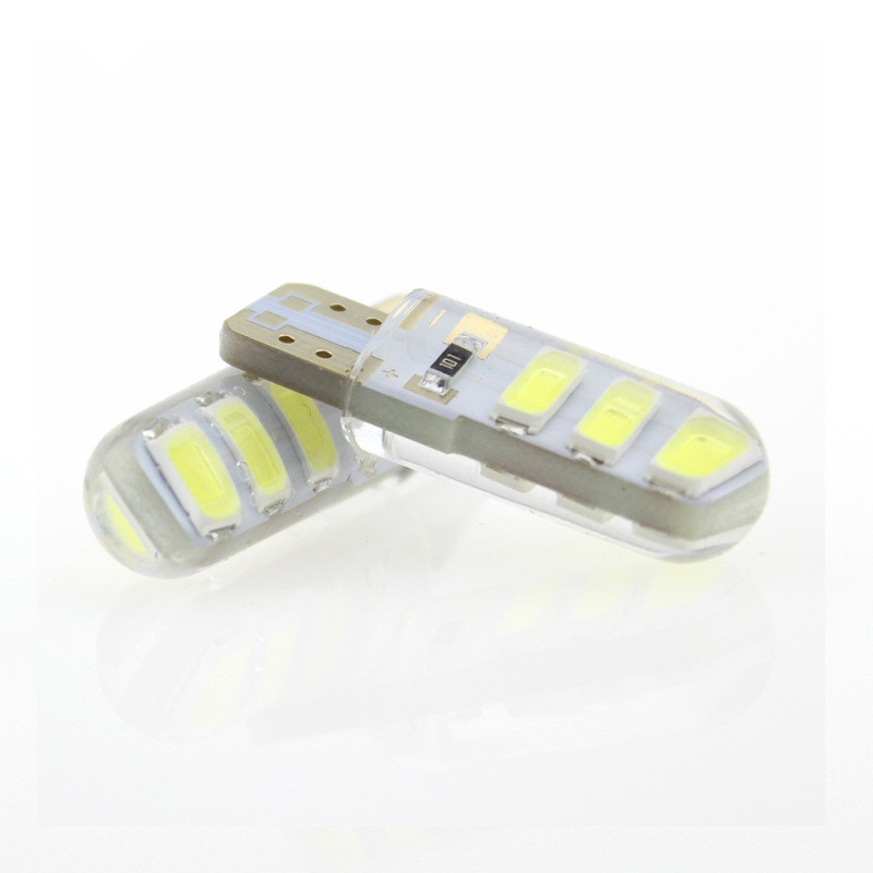 <font><b>100x</b></font> Car <font><b>LED</b></font> <font><b>T10</b></font> 194 W5W DC 12V Canbus 6SMD 5050 Silicone shell <font><b>LED</b></font> Lights Bulb No Error <font><b>Led</b></font> Parking Fog light Auto Car styling image