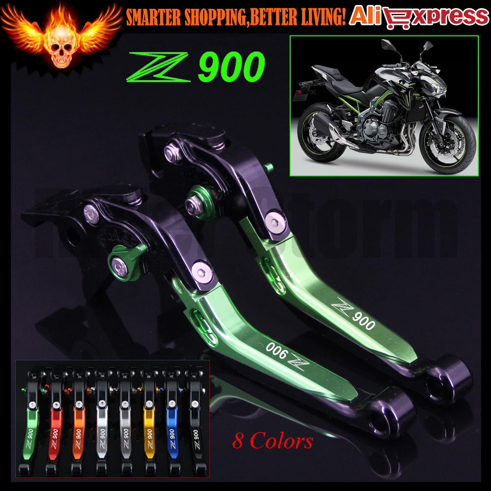 8 Colors Green+Black For Kawasaki Z900 Z 900 2017 CNC Adjustable Folding Extendable Motorcycle Brake Clutch Levers(Logo:Z900)