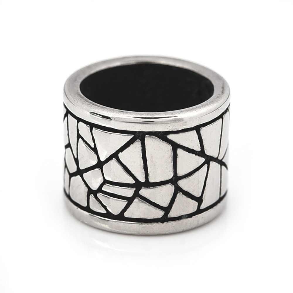 Perlas de acero inoxidable de gran agujero 8mm Metal del encanto de la diapositiva de La cuentas Blacken de para DIY pulsera hombres accesorios de fabricación de la joyería