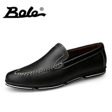BOLE Genuine Leather Men Shoes Casual 2017 Fashion Slip On Comfort Shoes Men Design Superstar Breathable Shoes Men Flat Footwear