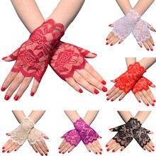 7 цветов, женские солнцезащитные перчатки для вождения с полупальцами, очаровательные сексуальные женские кружевные перчатки для вечеринки, перчатки без пальцев