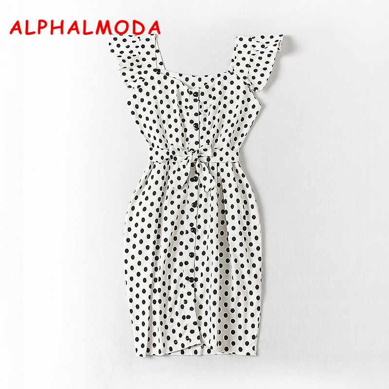 Женское платье с карманами ALPHALMODA, рубашка- платье в горошек рукав-лепесток однобортные тонкие ленты на лето 2018