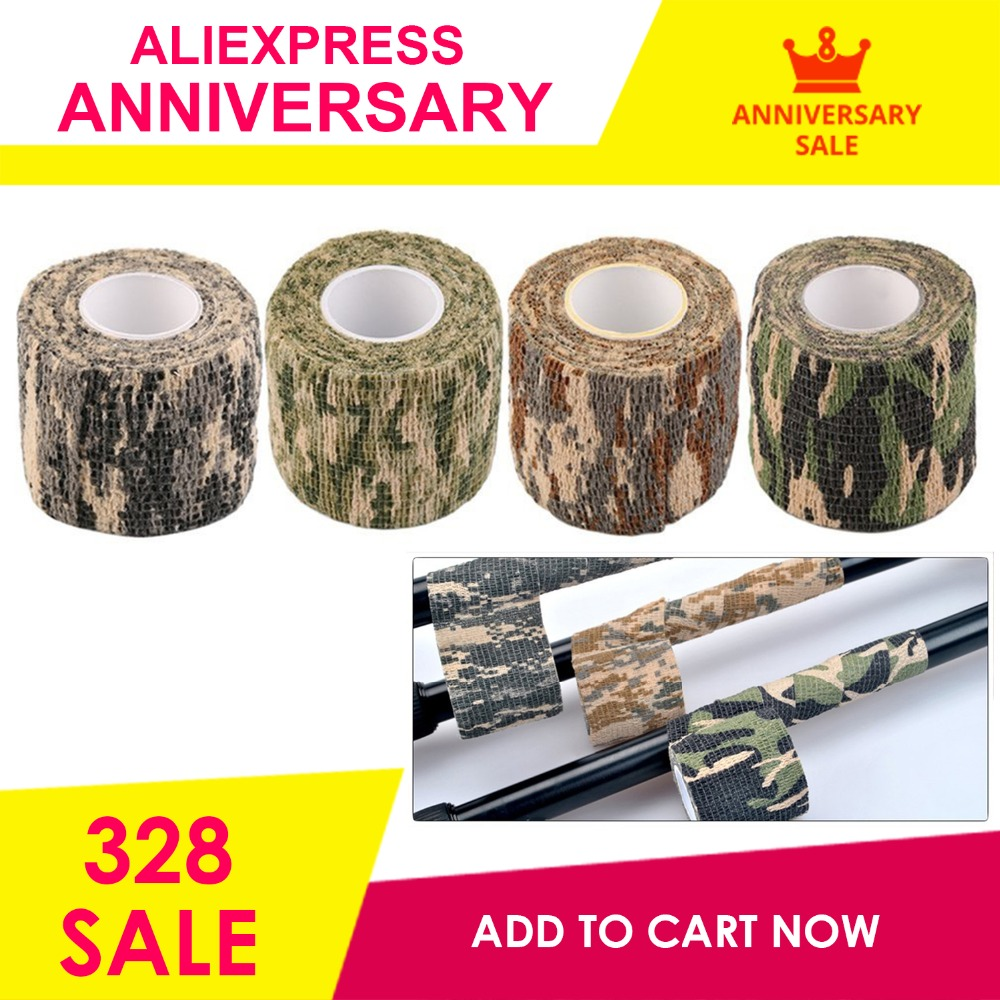 2018 New 1 Roll Men Army Adhesive Camouflage Tape Stealth Wrap Outdoor Hunting Dropshipping