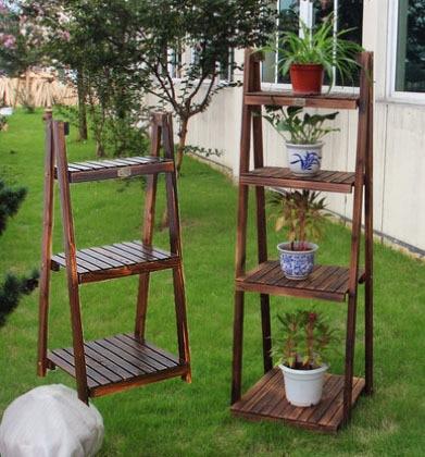 Free Shipping Wood Flower Wooden Storage Rack Shelf Flower Garden Flower  Pot Holder Home Decoration