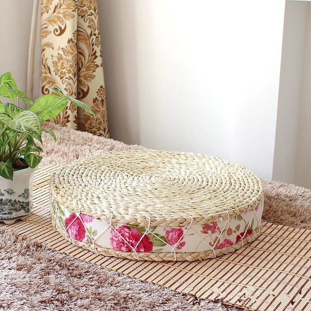 45 8 Cm Comfortable Futon Cushion Straw Printing Sponge Yoga Almofada Round Home Decoration Free Shipping