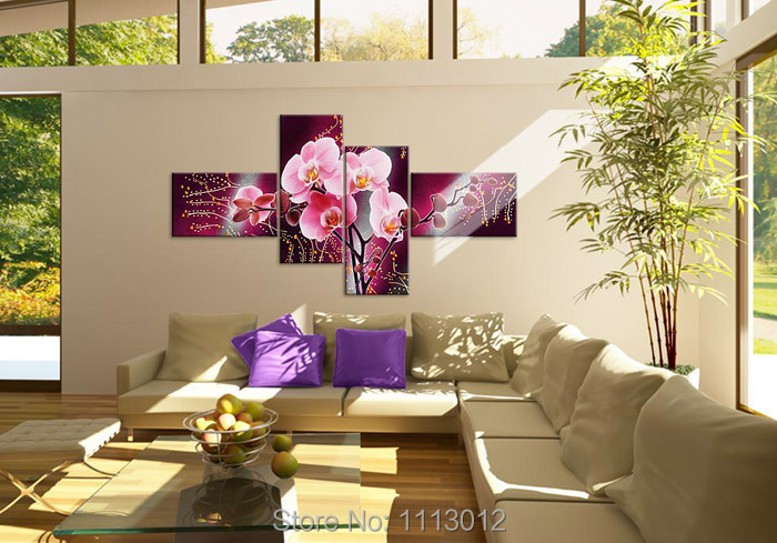 Hot Hand Painted Camellia Abstract Red Flower Oil Painting On Canvas 4 Pcs Sets Home Modern Wall Art Decor For Living Room Sale