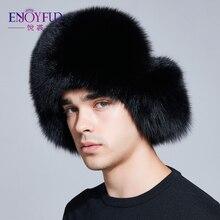ENJOYFUR sombrero de invierno con orejeras zorro auténtico hombres  sombreros rusos ushanka piel proteger el oído d061729486f