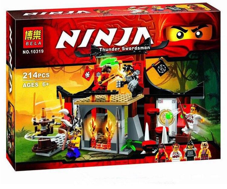 Bela 10319 214 UNIDS Ninja blocs de Construction Ninja Dojo Enfrentamiento jouet de construccion Ninos Juguetes Educativos
