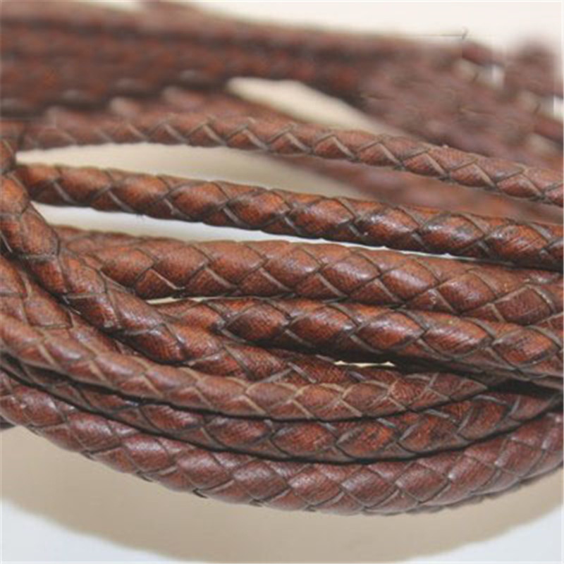 1m/lot 3mm 4mm 5mm Round Braided Genuine Leather Cord Coffee Cow Leather Cords String Rope Bracelet Findings Diy Jewelry Making