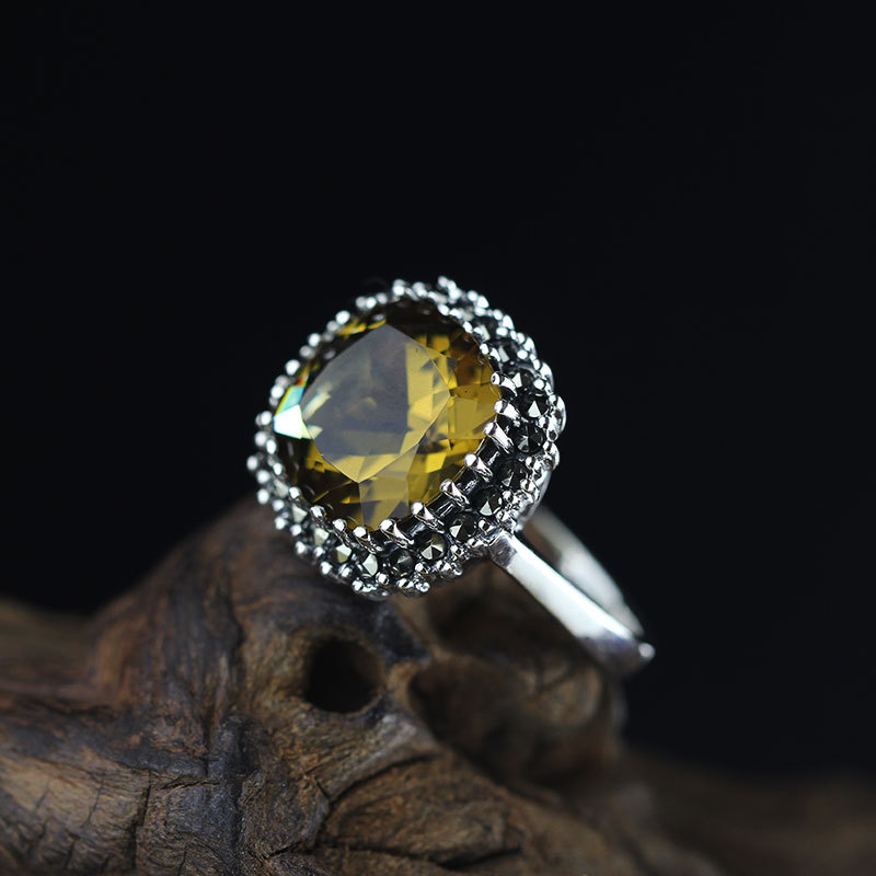 цена на Elegance Yellow Crystal Inlay 100% Pure 925 Sterling Silver Ring For Women,Vintage Gemstone Ring Fine Jewelry For Wholesale