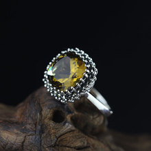 Elegance Yellow Crystal Inlay 100% Pure 925 Sterling Silver Ring For Women,Vintage Gemstone Ring Fine Jewelry For Wholesale