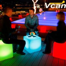 PE plastic Waterproof Rechargeable Led Illuminated Furniture indoor bar chairs(China)