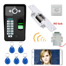 ENNIO Wireless WIFI RFID Password Fingerprint Recognition Video Door Phone video intercom System+ Electric Strike Lock