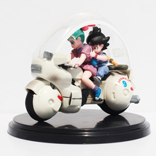 1pc 8cm Dragon Ball Z Son Goku Bulma Motorcycle PVC Action Figure Collectible Model Toy Retail Gift Packaged Free Shipping