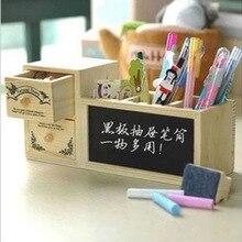Ящиком holder корея контейнер деревянный милые pen доска школьные карандаш офис