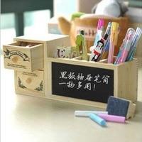 Cute Wooden Pen Holder Creative Pencil Case Pencil Box With Drawer Blackboard Office School Supplies Free