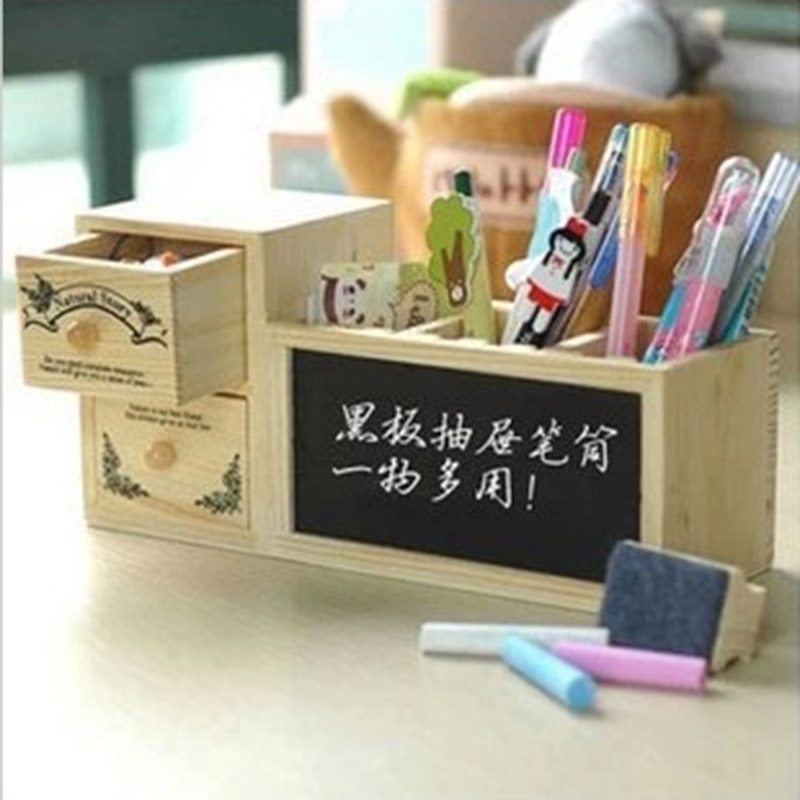Cute Fashion Wooden Pen Holder Pencil Container with Drawer Blackboard Office School Supplies Korea Stationery Student 137