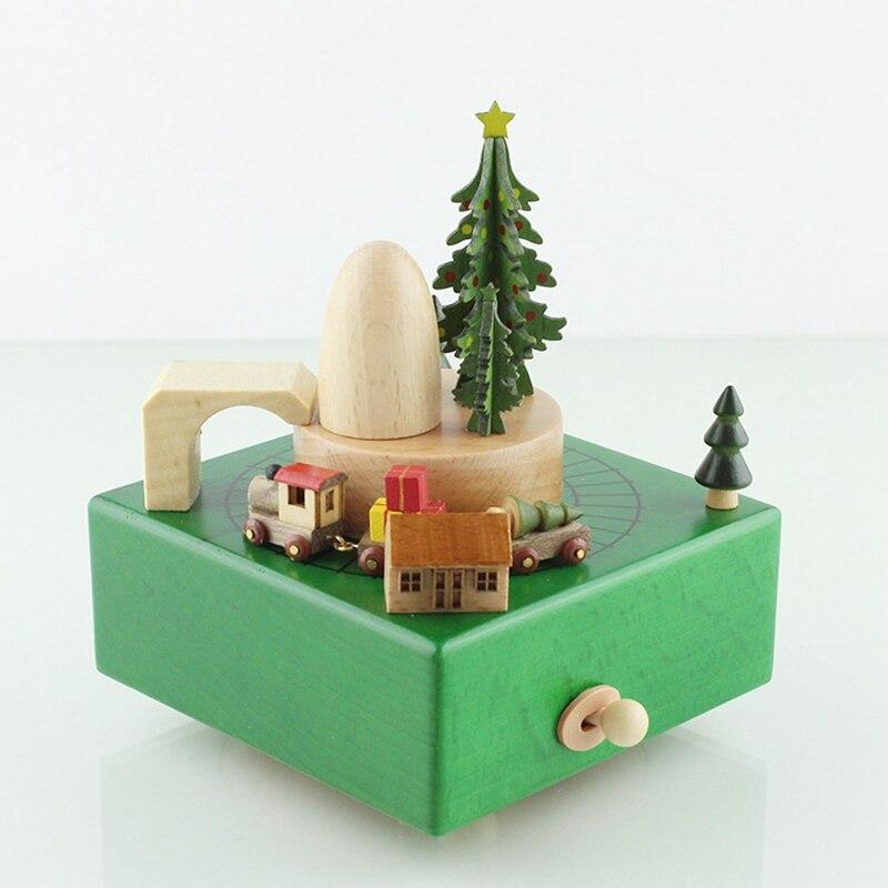 Bois noël Train thème boîte à musique décoration de la maison artisanat mouvement boîte à musique noël carrousel mécanisme musical jouet cadeaux