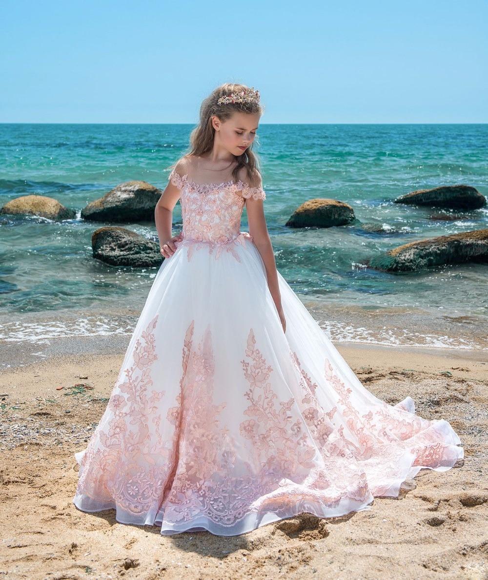 Real Photo Pink Flower Girl Dress Elegancki Off Shoulder Lace - Odzież dla niemowląt - Zdjęcie 2