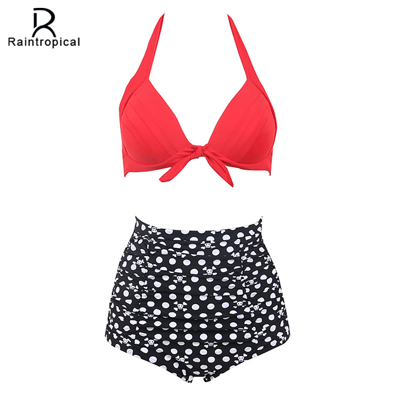 Raintropical 2017 New Sexy Halter Top Bikinis Women Swimwear Push Up Female Swimsuit Bikini Set Beachwear Bathing Suits Biquini new sexy halter top bikinis women swimwear push up retro female swimsuit bikini set beachwear bathing suits biquini for girls