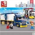 Sluban M38-B0318 Heavy Duty Camión de carga 537 unids de construcción DIY 3D Bloques Huecos de Los Niños juguete de Regalo Chiristmas Estación Resto