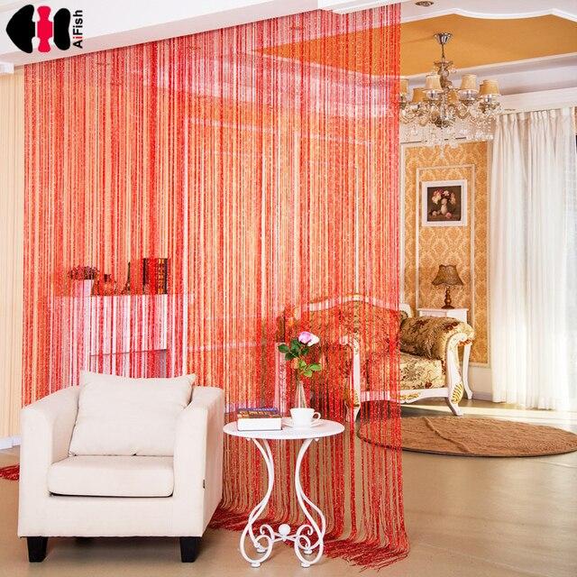 effen kleur string rode gordijnen draad weduwe panelen screen huis gordijnen lijn gordijn kamer jaloezien string