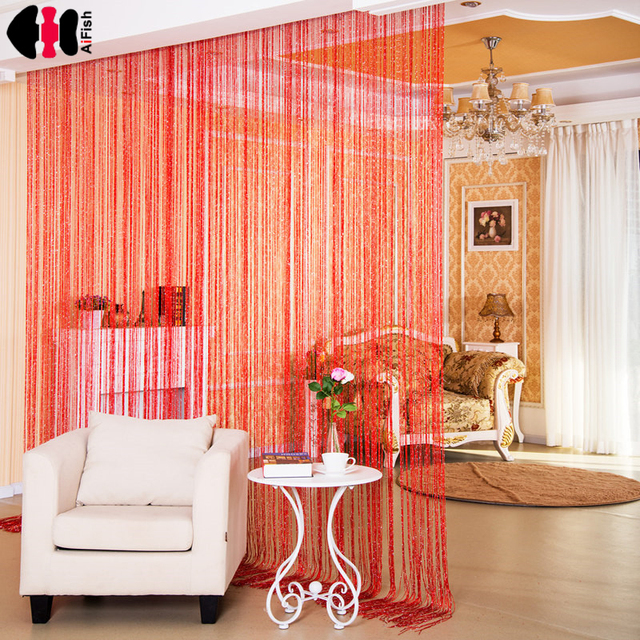 Solid Color String red curtains thread Widow Panels Screen House ...