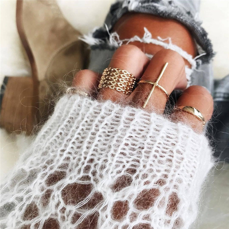 RAVIMOUR Trendy Anillos Mujer Gold Color Knuckles Ring Set Big Cross Chain Design Turkish Female Jewelry Punk Boho Finger Rings