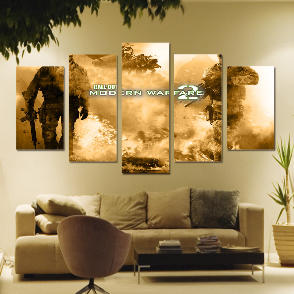 5 Piece Canvas Art Wall Art Game Modern Warfare 2 Painting Picture ...