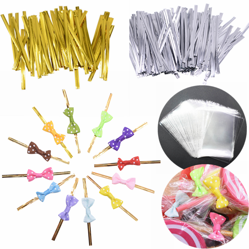 40/100pcs Plastic Clear Candy Bags Baking Lollipop Dessert Packaging Sealing Wire Wedding Party Birthday Cake Wrapping Supplies8